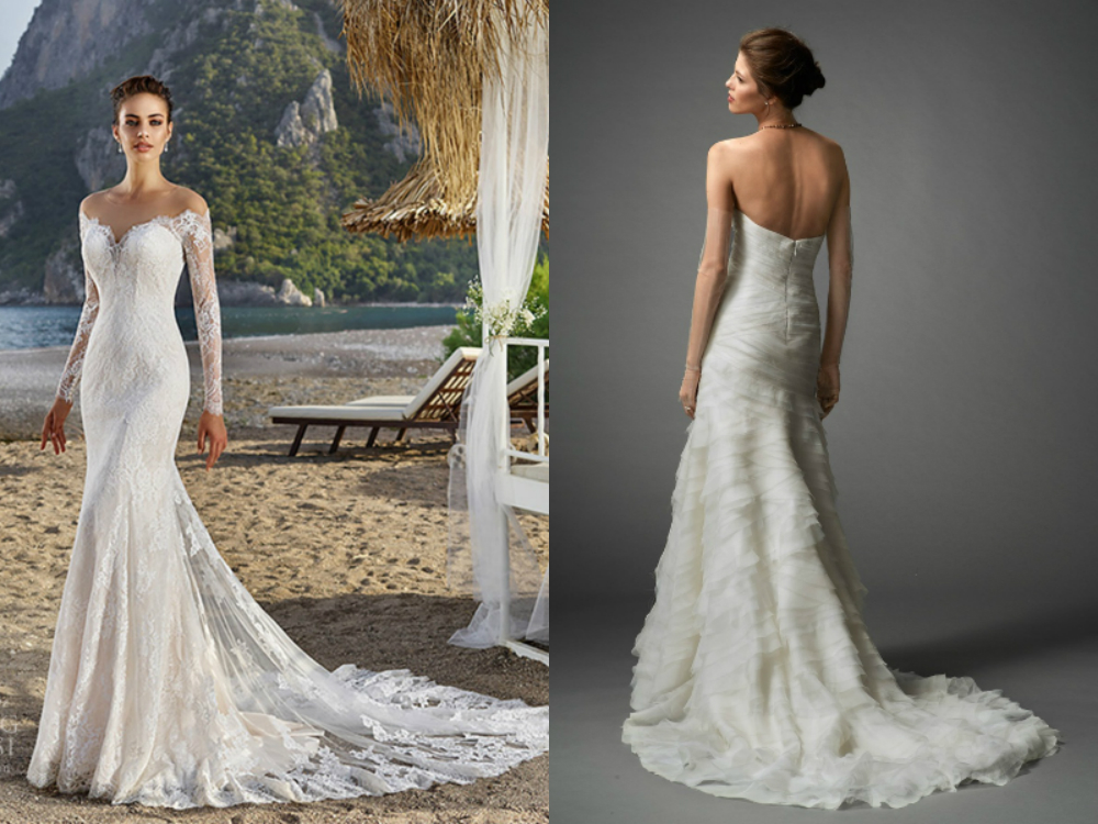2018 mermaid wedding dresses with long train