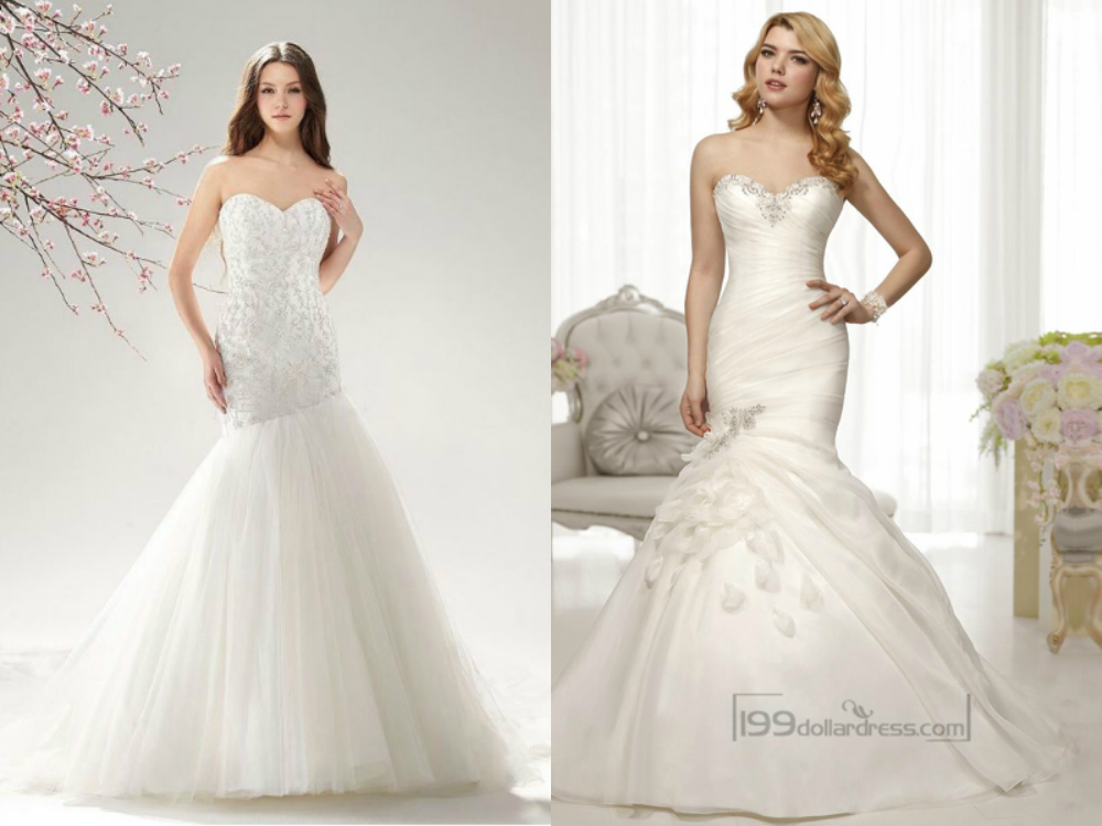 Beaded sweetheart mermaid wedding dresses