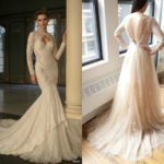 Divine Cream Wedding Dress With Long Sleeve