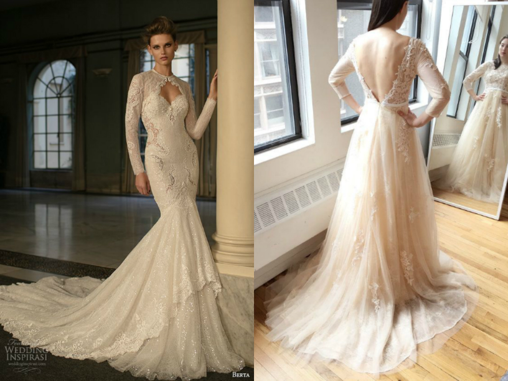 0994e752d8 Many people are making the choice of cream colored long sleeve wedding gowns