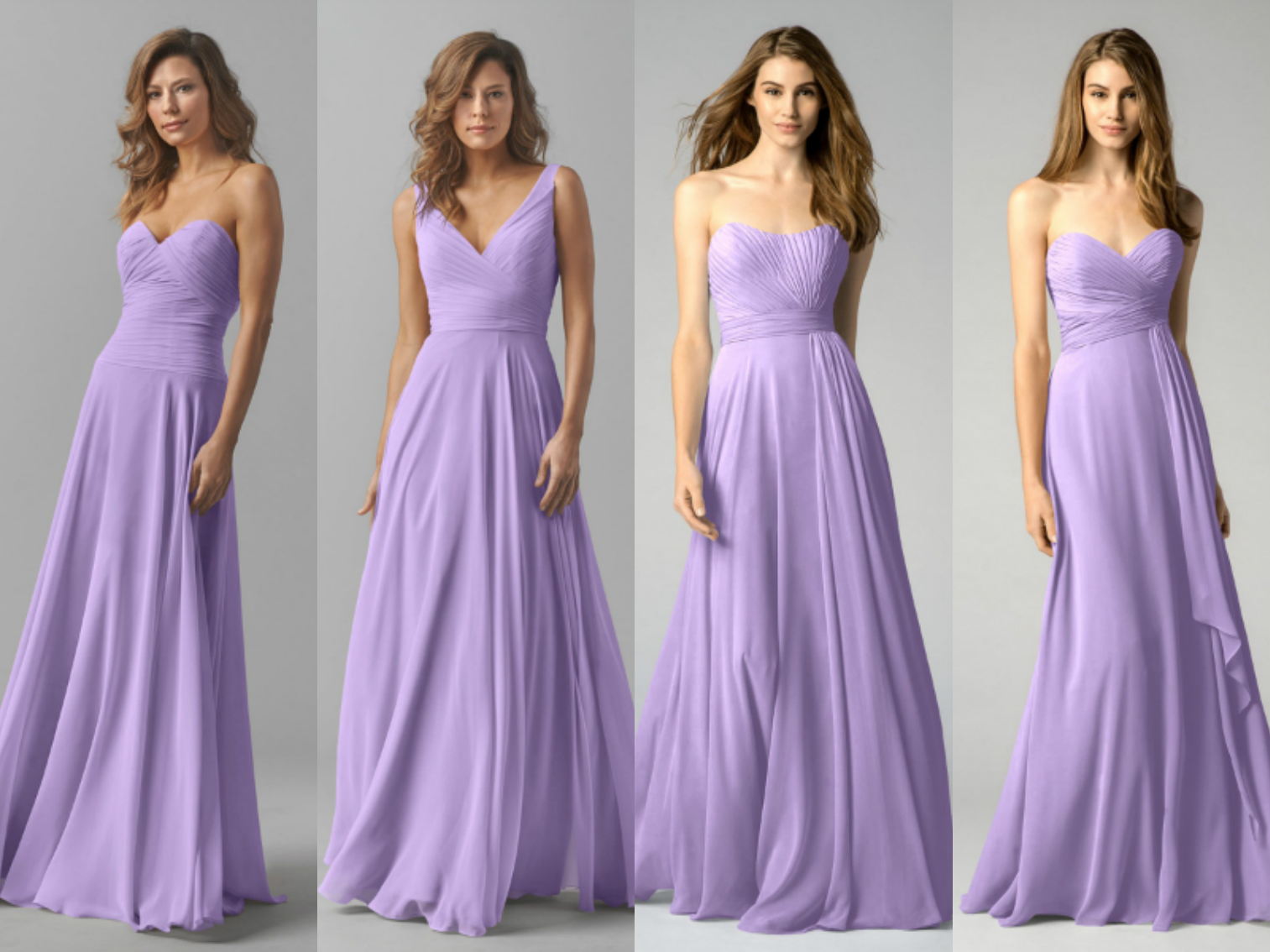 Purple And Cream Bridesmaid Dresses
