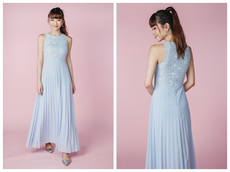 Long sky blue bridesmaid dress