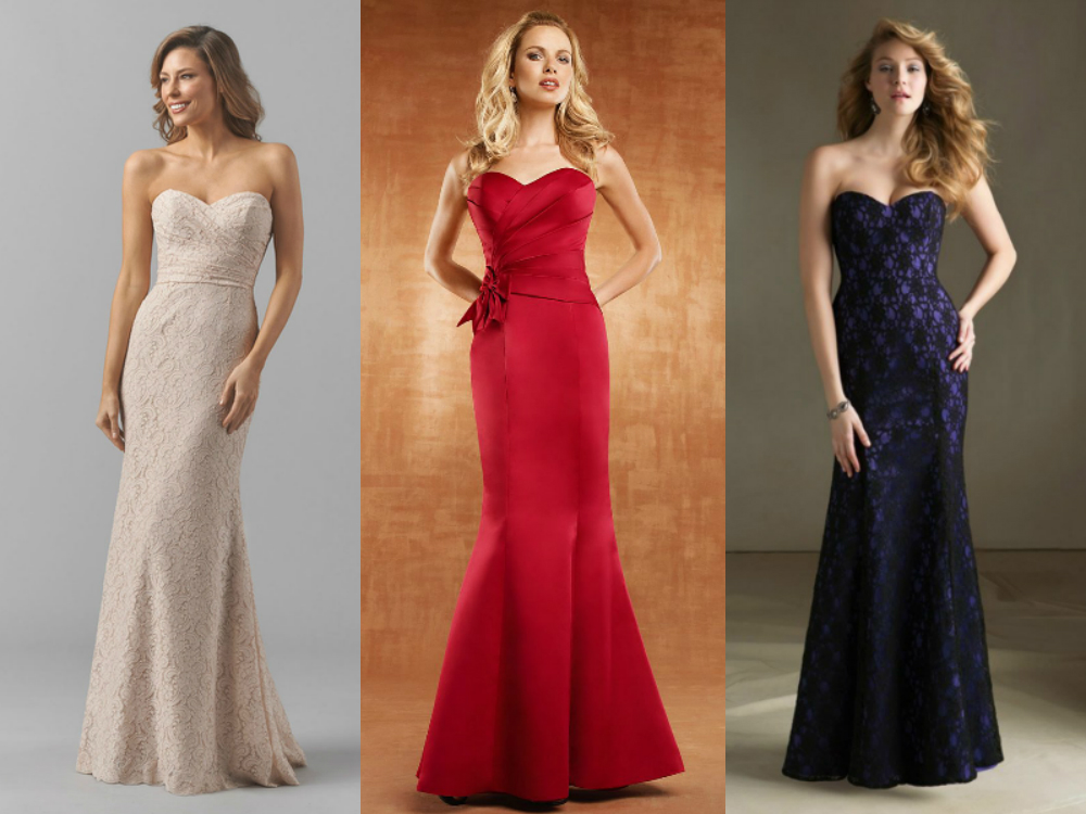 Long sweetheart mermaid bridesmaid dresses