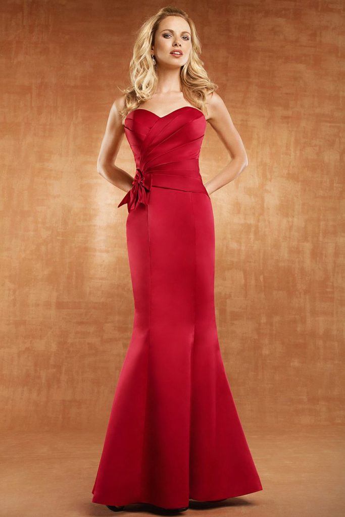 Mermaid Sweetheart Red Bridesmaid Dresses with Buttons