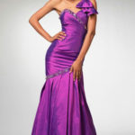 One Shoulder Mermaid Taffeta Beadwork Trimed Prom Dress