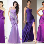 Purple one shoulder mermaid bridesmaid dresses