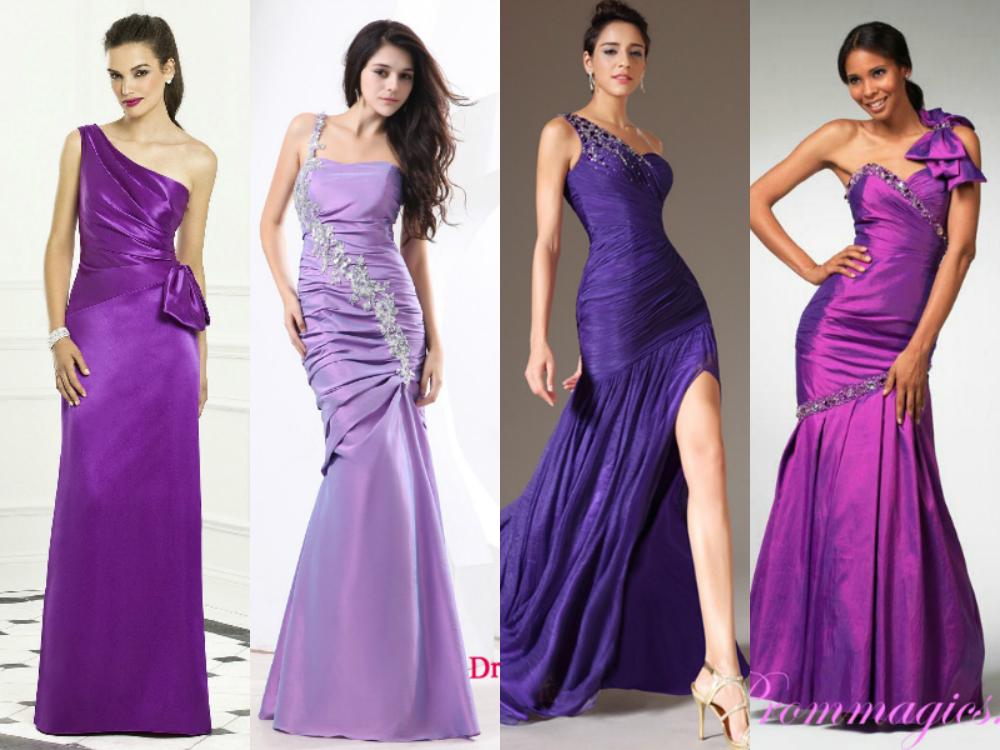 Purple one shoulder mermaid bridesmaid dresses