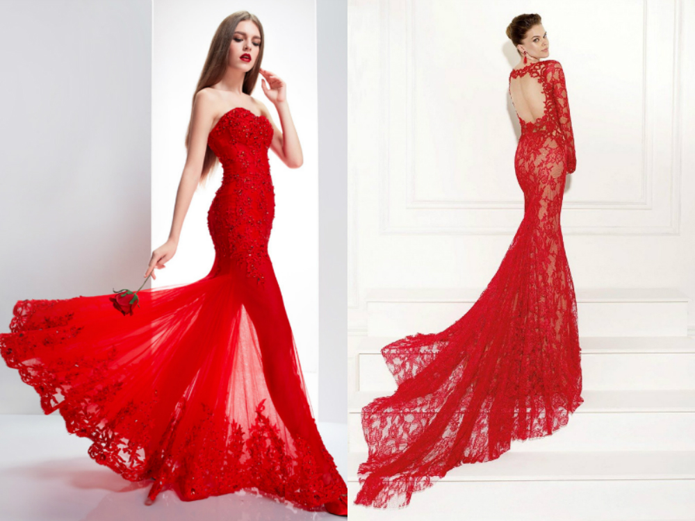 Red mermaid wedding dresses with long trains uk