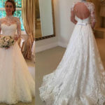 Sweetheart Lace Wedding Dresses with Sleeves Open Back